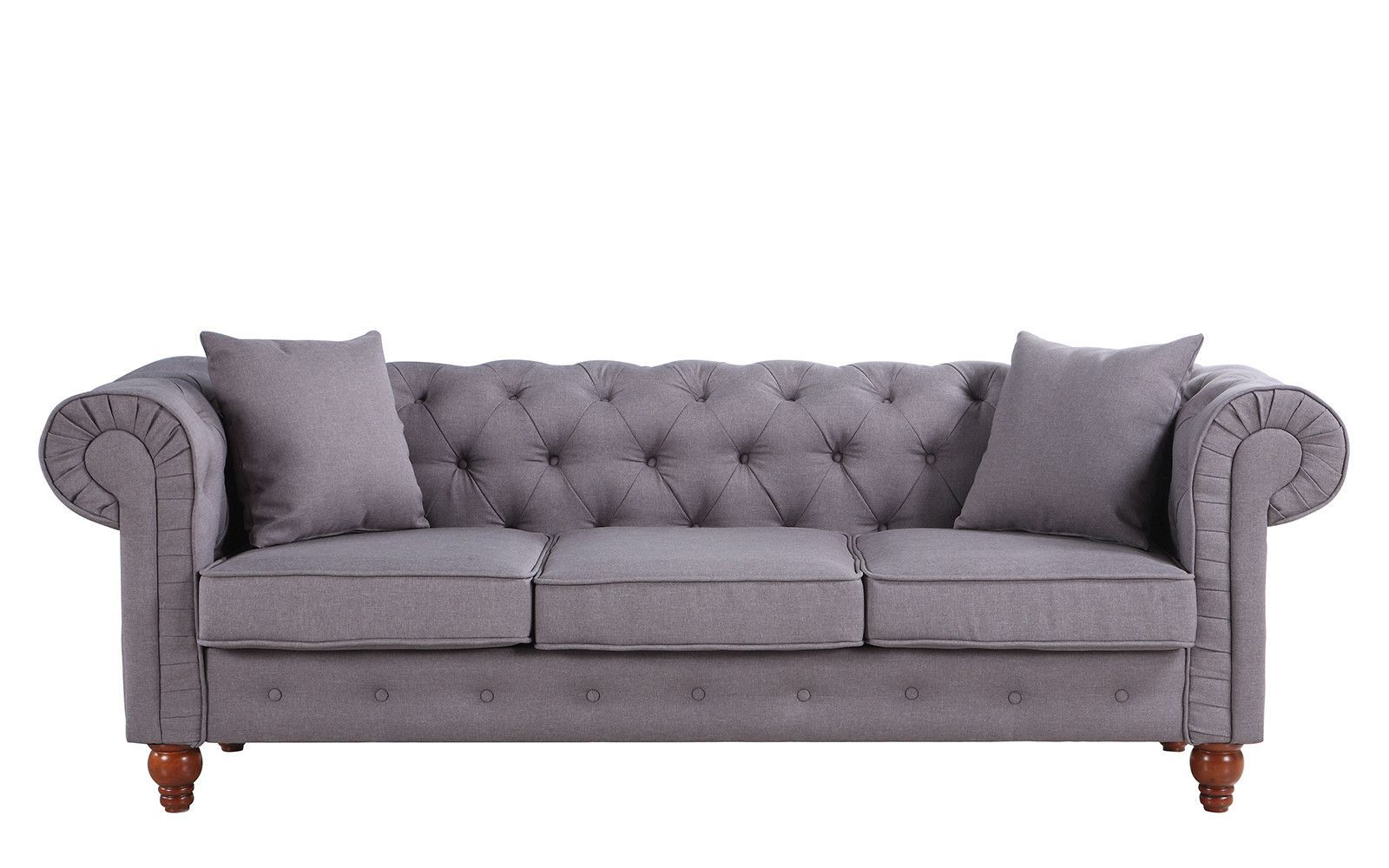 Stratford Classic Grey Fabric Chesterfield Sofa Home Fabric
