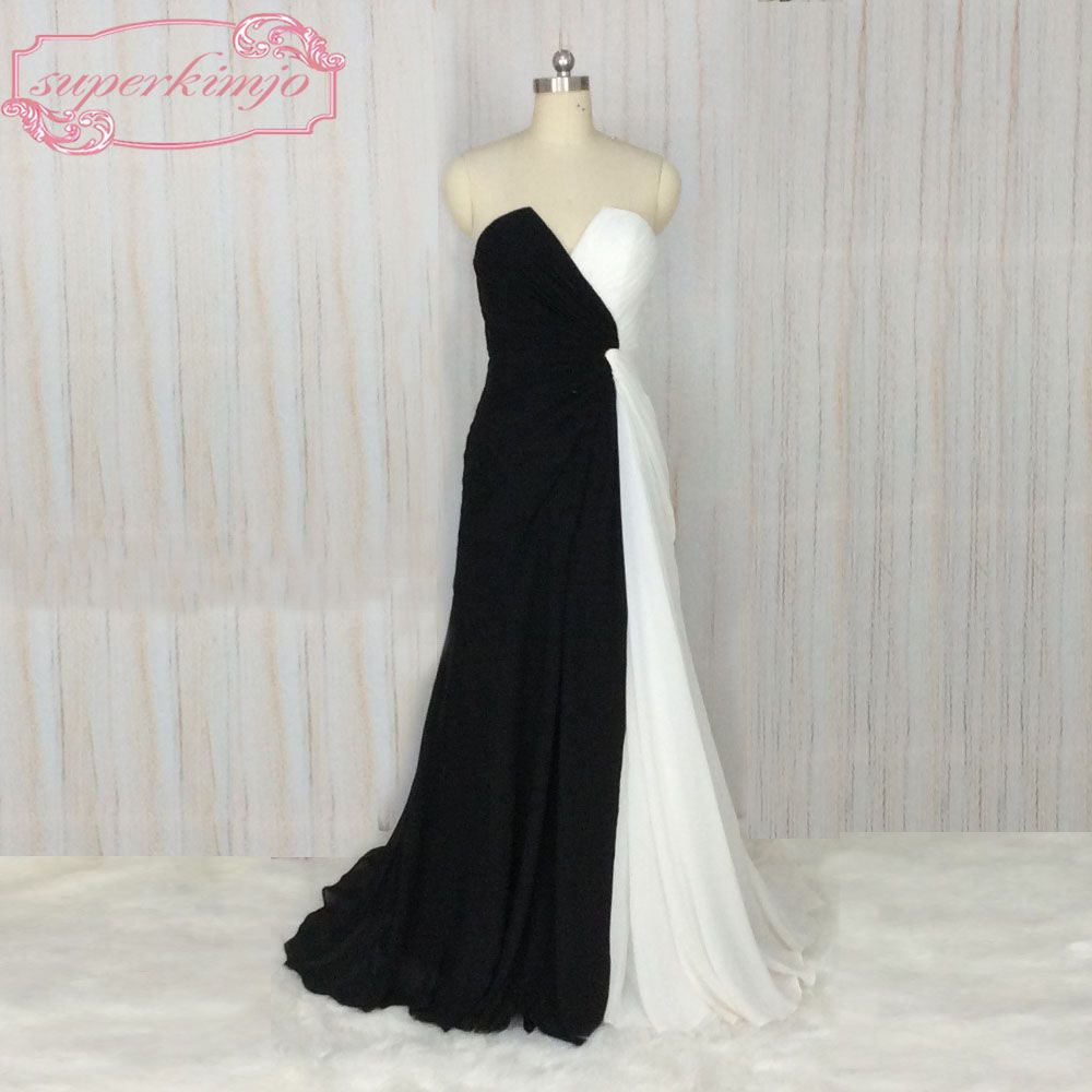 Click to buy ucuc superkimjo black and white prom dresses v neck