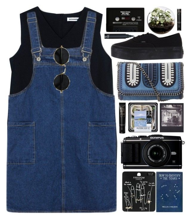 """""""strollin'"""" by annisaamara ❤ liked on Polyvore featuring Jil Sander, Topshop, Polaroid, STELLA McCARTNEY, Vans, Home Essentials, CASSETTE, black, Blue and denimoverall"""