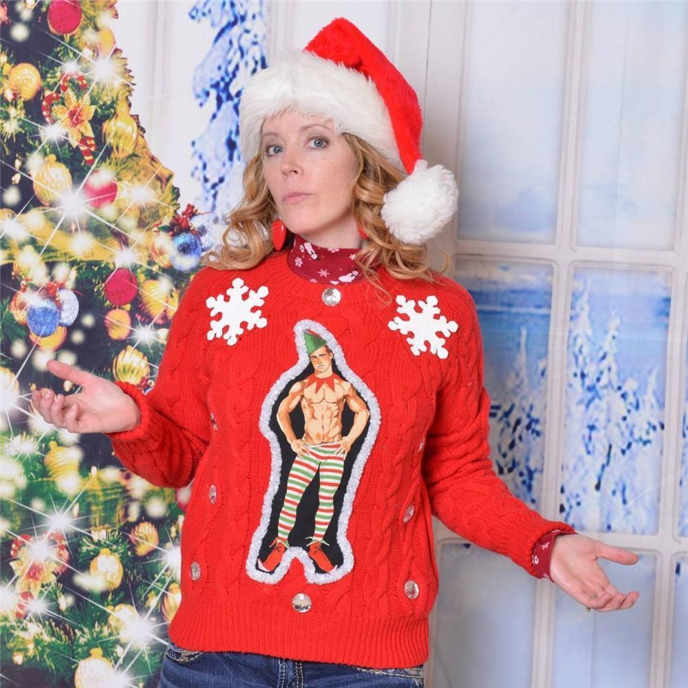 Funny Ugly Xmas Sweater Featuring Sexy Elf Bare Chested Hunk Youll
