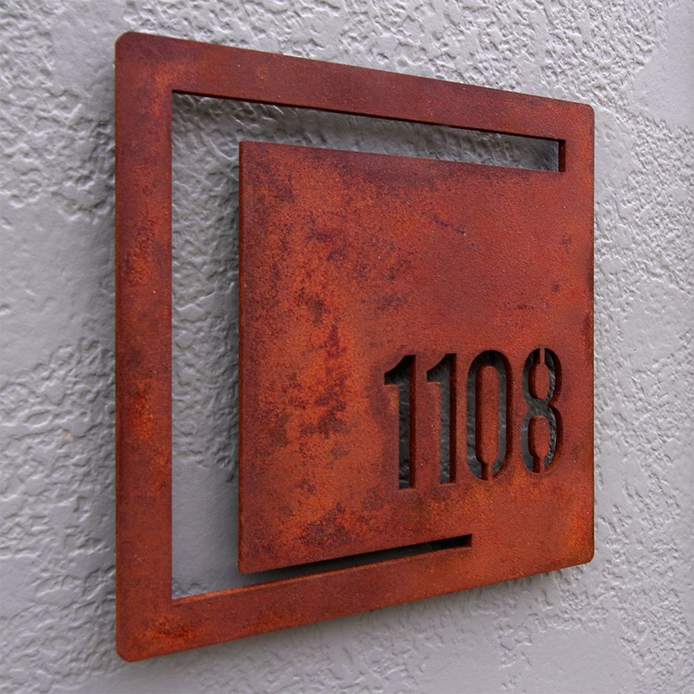 Mod shapes square custom house number sign rusted steel 159