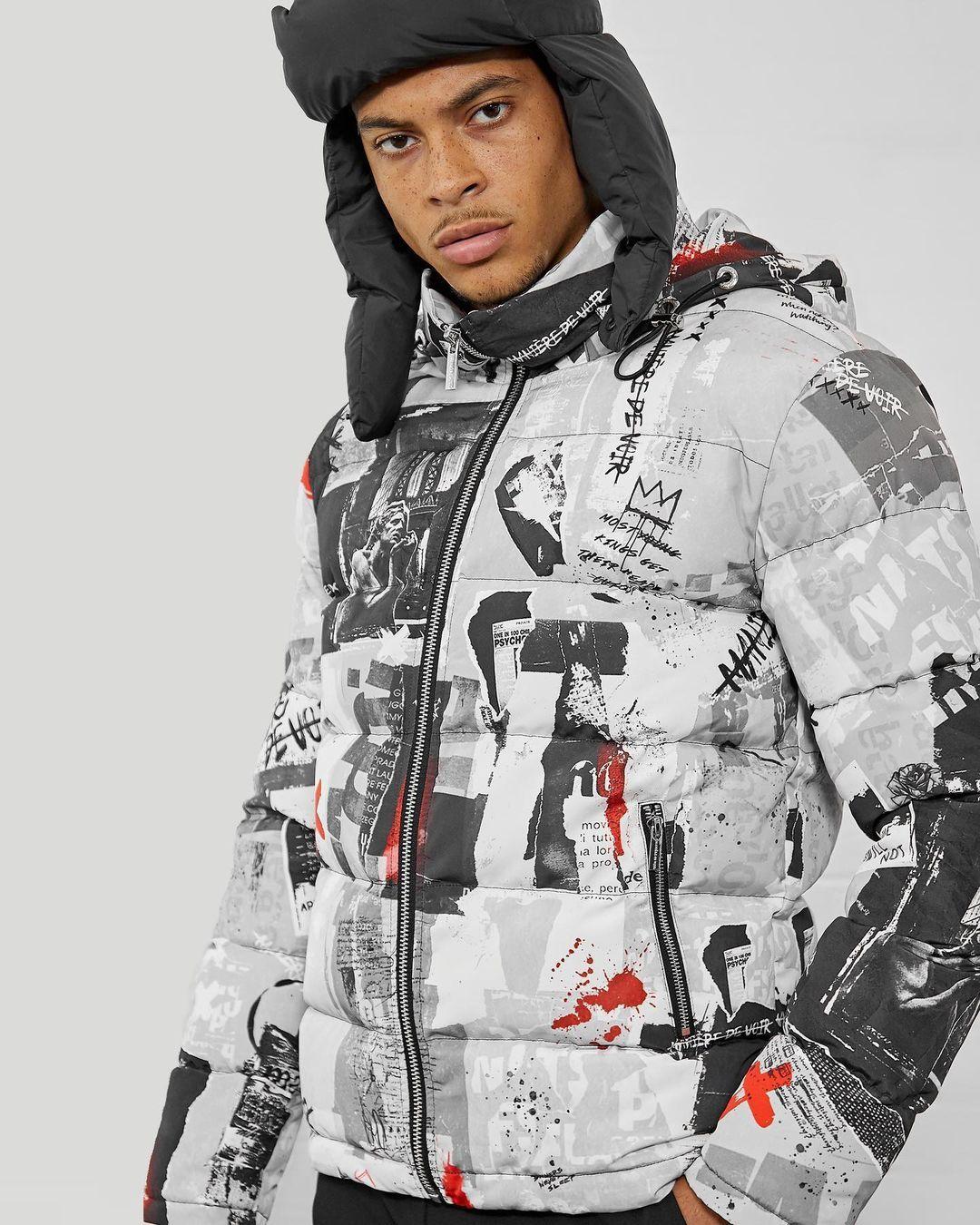 Graffiti Puffer Jacket In 2021 Puffer Jackets Jackets Gray Jacket [ 1350 x 1080 Pixel ]