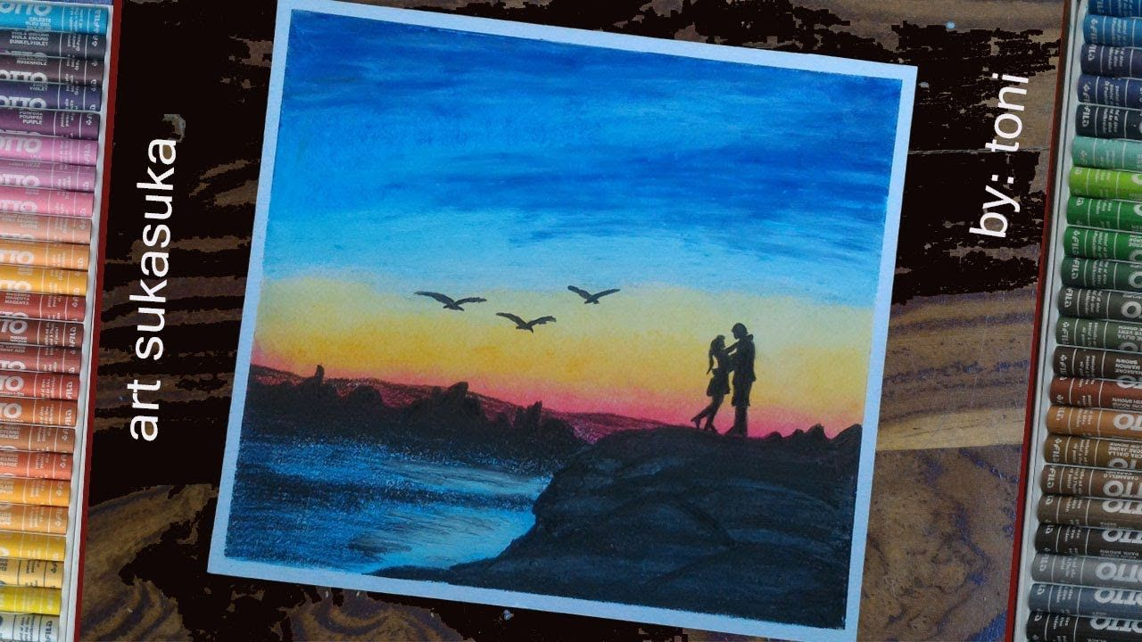 Menggambar Siluet Menggunakan Crayon Romantis Dan Pemandangan Pantai Pemandangan Pantai Gambar
