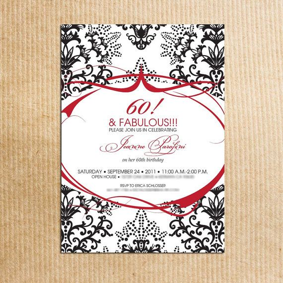 Red Black Damask 60th Birthday Party Invitations - Stationery by - sample invitation wording for 60th birthday
