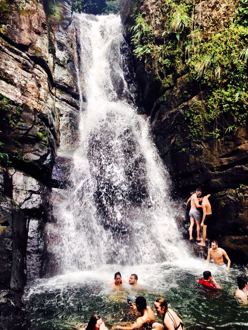 El Yunque National Forest.  Swimming beneath waterfalls after a long hike. Peurto Rico stole a piece of my heart.