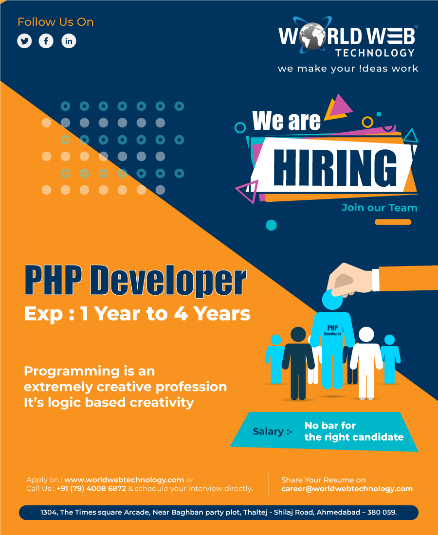 Careers Job Opportunities Open Positions At World Web Technology In 2020 We Are Hiring Web Technology Technology Careers