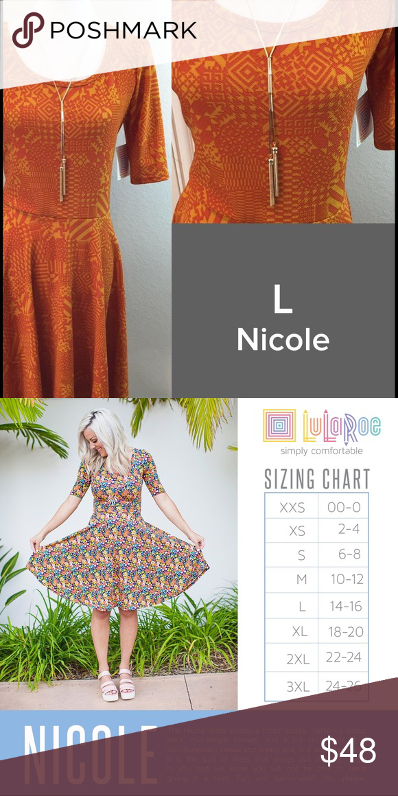 LuLaRoe Nicole Size L NWT We have tons more to list. helping a friend liquidate her inventory. So let us know what your looking for and we will see what we have in your size. She is open to offers as well. Jewelry is Park Lane! We can get those items too! Create a bundle for you. LuLaRoe Dresses