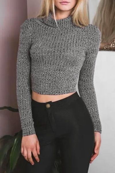 Gotd Womens Sweater Loose Knitted Long Sleeve High Neck Knitwear Tops