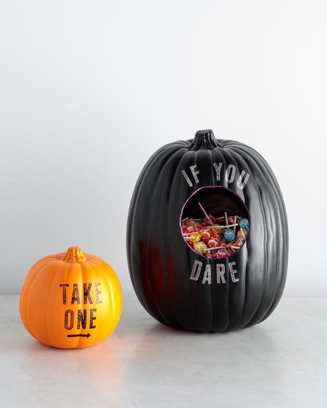 Stenciled Pumpkin Candy Holder - Made with Martha Stewart paints - martha stewart halloween ideas