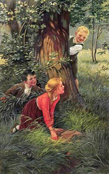 Hide Seek Kids: Children Playing Hide And Seek Richard Borrmeister (1876