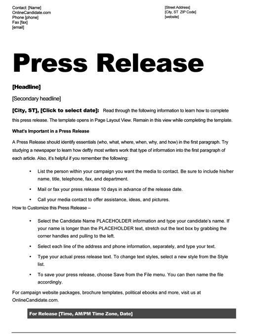 School Board Campaign Press Release Template   Slate Blue, Black And Yellow  Theme