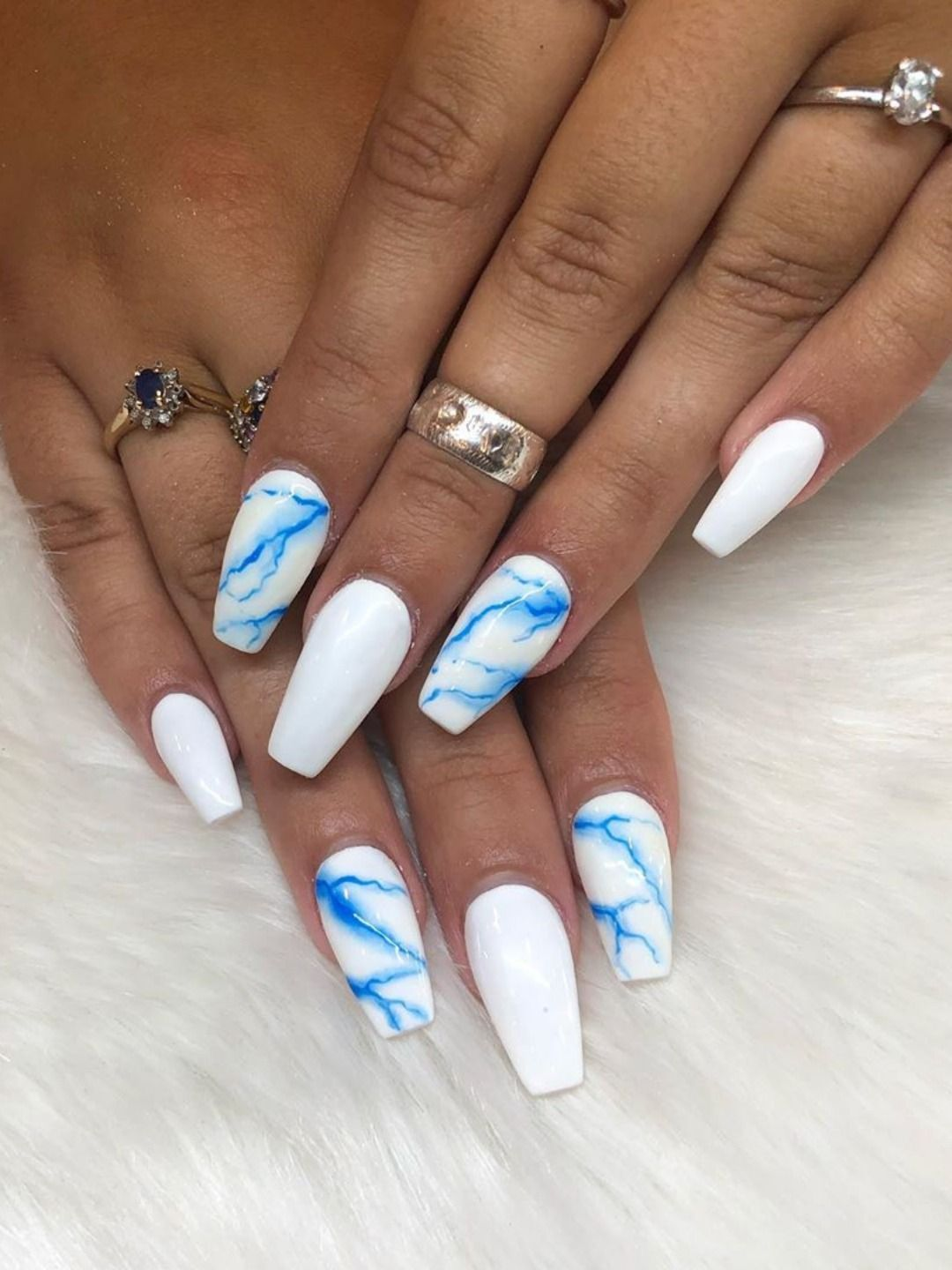120 Best Coffin Nails Ideas That Suit Everyone White Acrylic Nails Best Acrylic Nails Blue Acrylic Nails