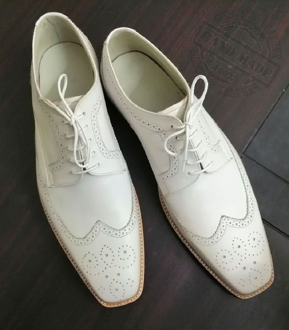Fashionable Derby In Classy White Full Brogue Premium Leather Men Dress Shoes Formal Shoes For Men Dress Shoes Men White Leather Shoes [ 1143 x 1000 Pixel ]