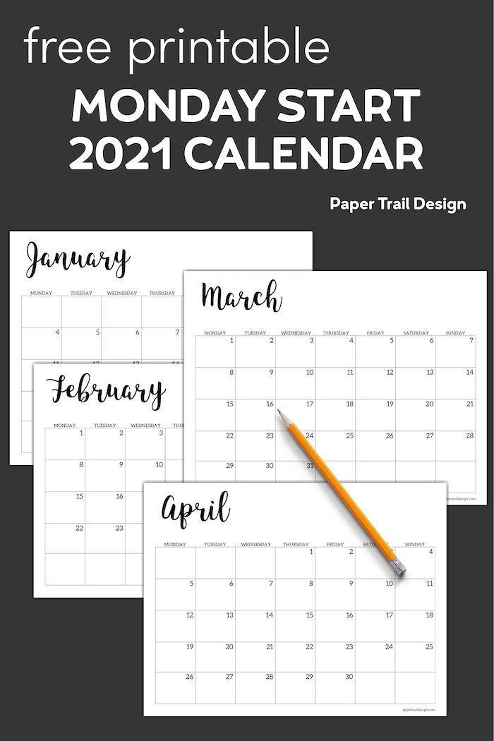 Free Printable 2021 Calendar - Monday Start | Paper Trail ...