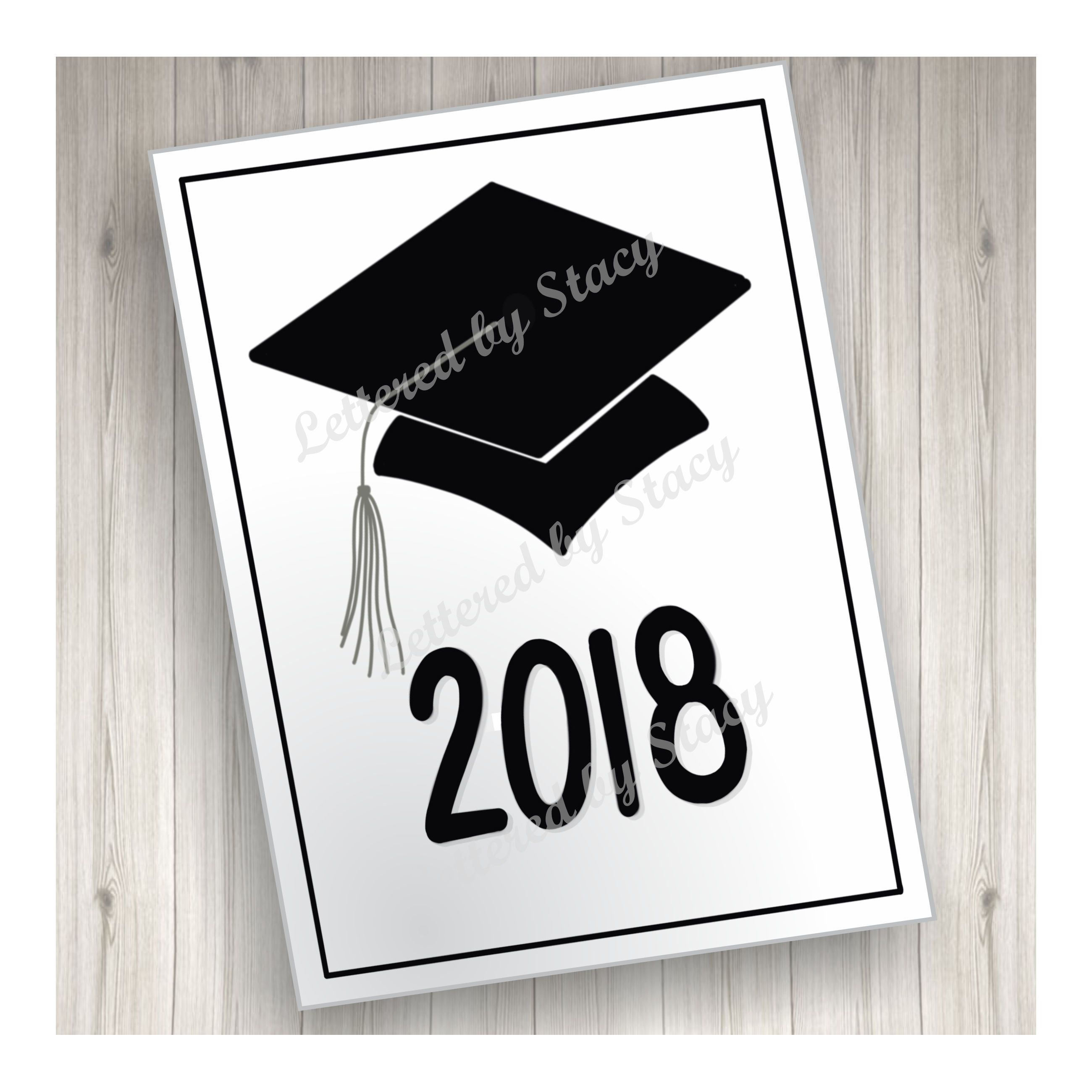 Graduation Card Graduation Cap And Year 2018 Printable