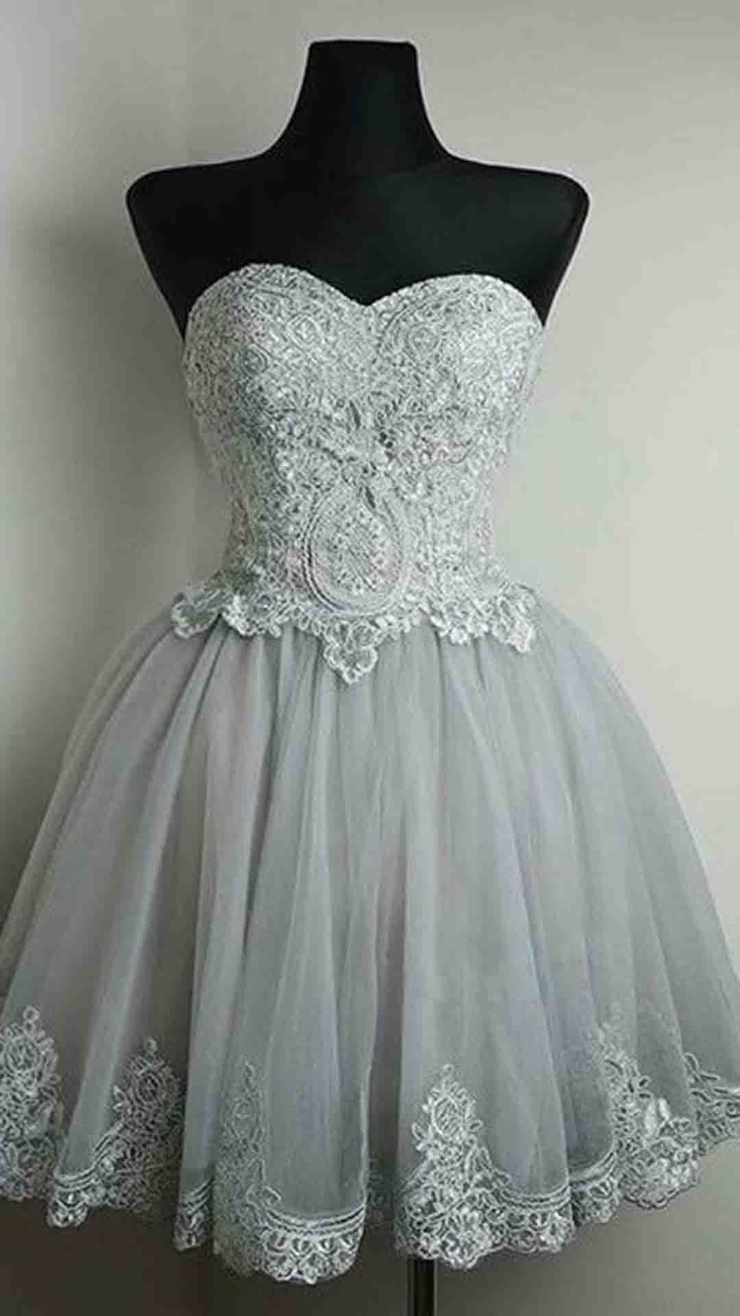 Cute gray lace tulle short prom dress homecoming party dress