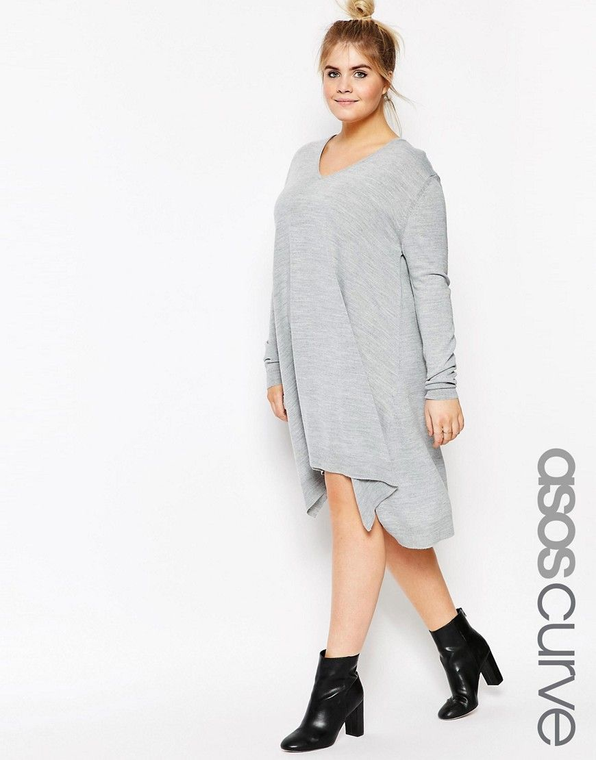 a3d622b4e61 ASOS CURVE Sweater Dress In Fine Knit Latest Dress