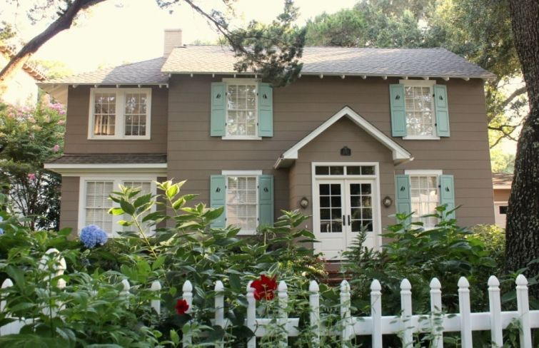 Brown House With Blue Shutters St Simons Island Exterior House