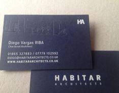 54gsm dark blue business card; foils: silver, blind deboss. Please visit our website at www.ultimatebusin... for further information on our range of custom made business cards.