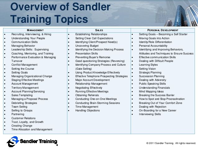 Sandler Training - Sales Training, Management Training, and then - how to develop a sales training plan