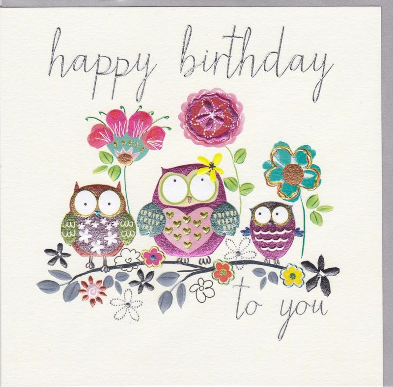 Owls Birthday Card With Images Happy Birthday Greetings Happy