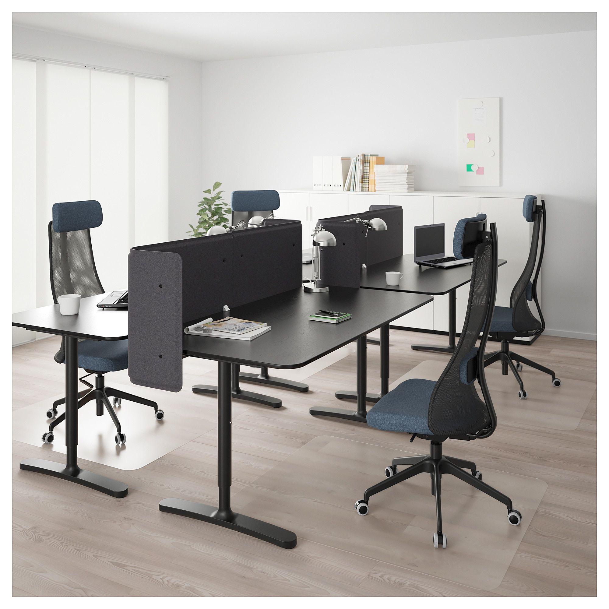 Bekant Desk With Screen Black Stained Ash Veneer Black Ikea Modern Office Interiors Office Interior Design Ikea Bekant Desk