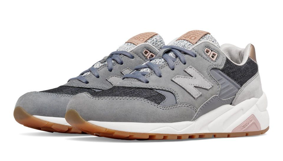 New Balance 580 NB Grey Womens Shoes Grey with Silver