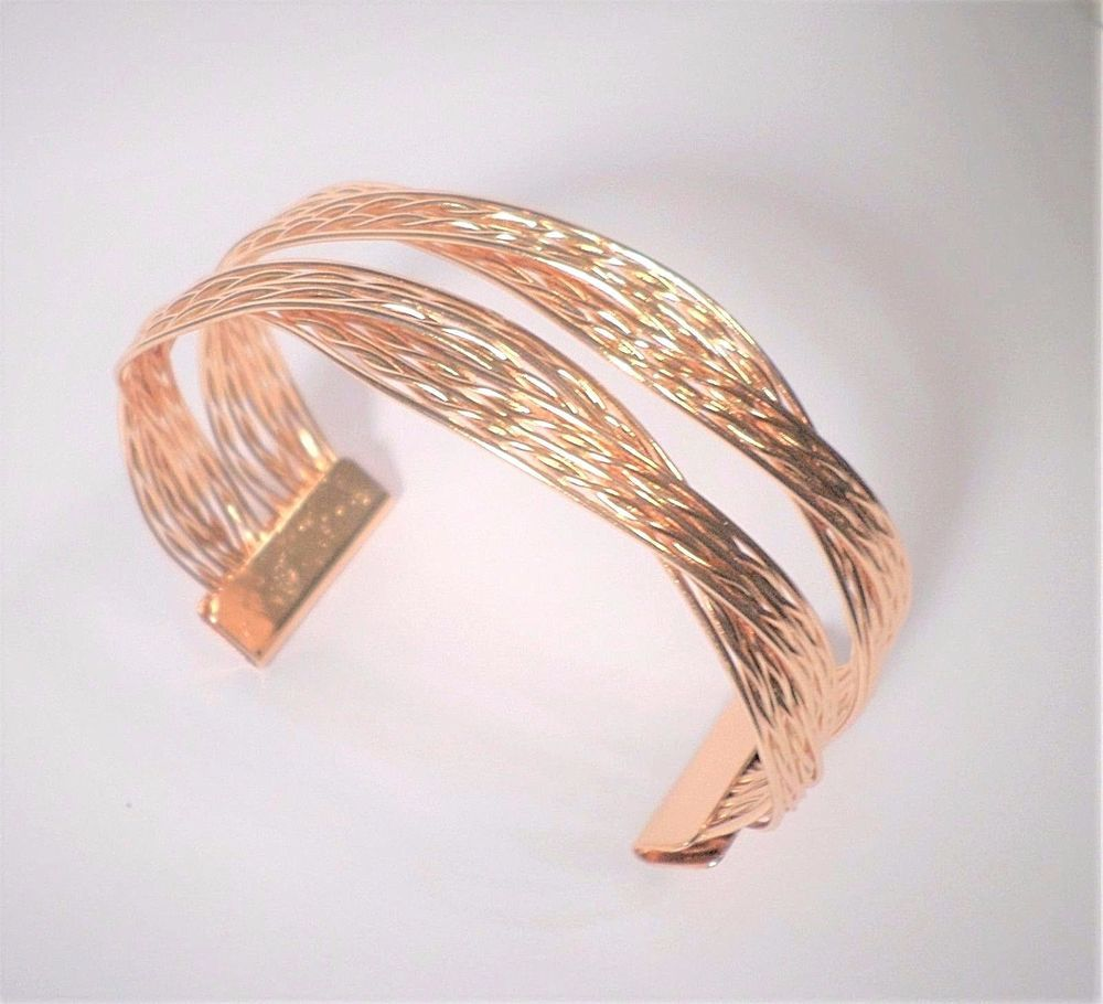 Womensmens entwined design strand cuff bracelet k gold plated