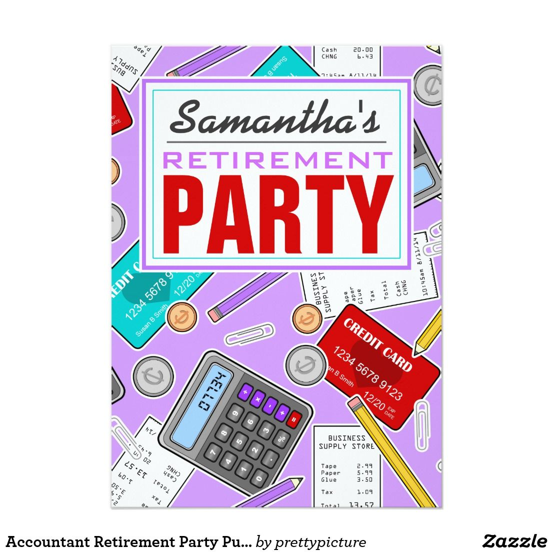 Accountant Retirement Party Purple | Invitations Personalized ...