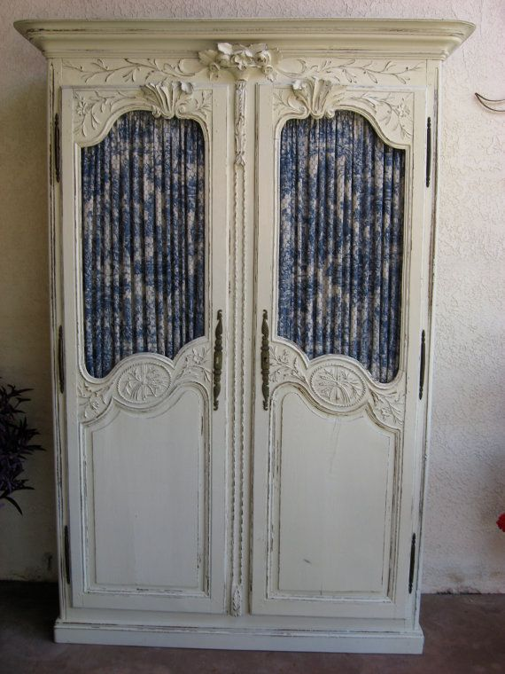 White French Country Armoire Fabric Behind Chicken Wire