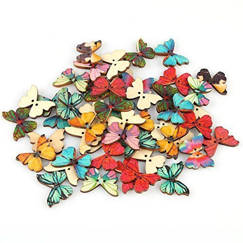 GuangSam 50pcs Buttons 2 Holes Mixed Color Butterfly Shape Wooden Sewing Mend Scrap DIY Buttons, http://www.amazon.co.uk/dp/B01J19TPM4/ref=cm_sw_r_pi_awdl_x_exMPxbVS7AMD9
