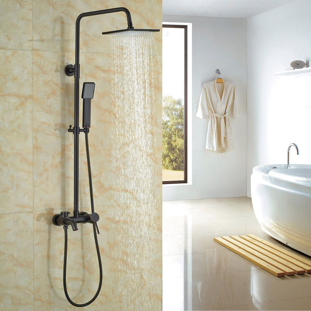 Oil Rubbed Bronze Bathroom Tub Shower Faucet System Rain Head with ...