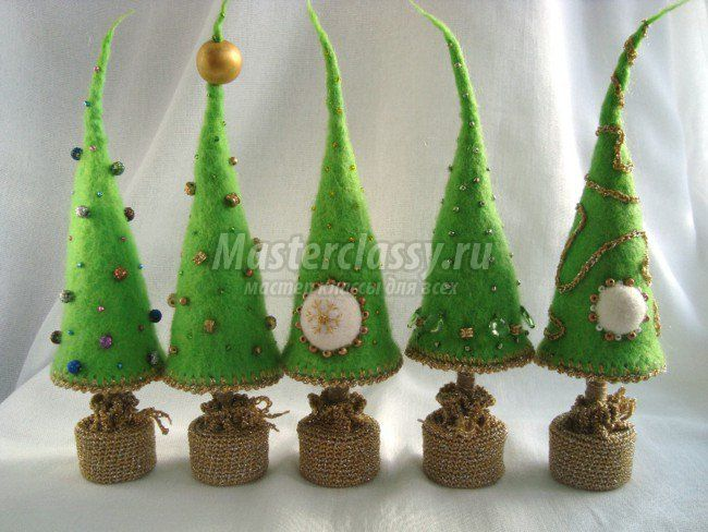 Masterclass Felted Christmass trees by Olga Borisenko