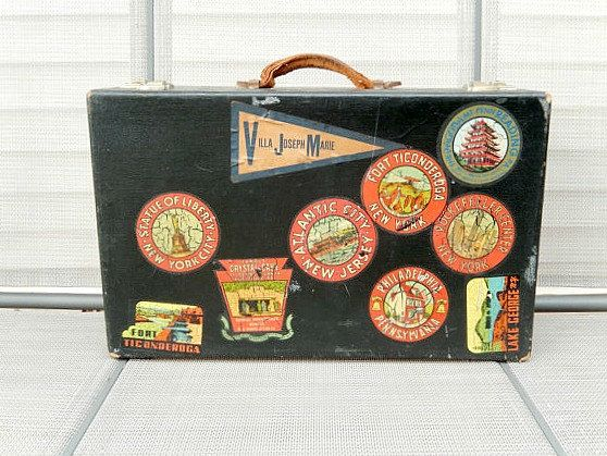 Vintage Suitcase Antique Suitcase, Vintage Luggage With Travel Stickers,  Photo Prop, Storage, Home Decor