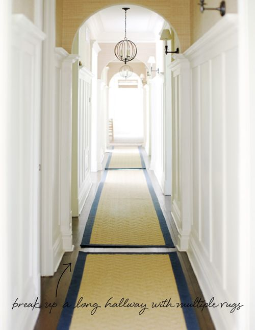 Love This Idea Of Breaking Up The E With Multiple Flat Woven Rugs Gorgeous Hallway Hallways Pinterest Rug Long And Wainscoting