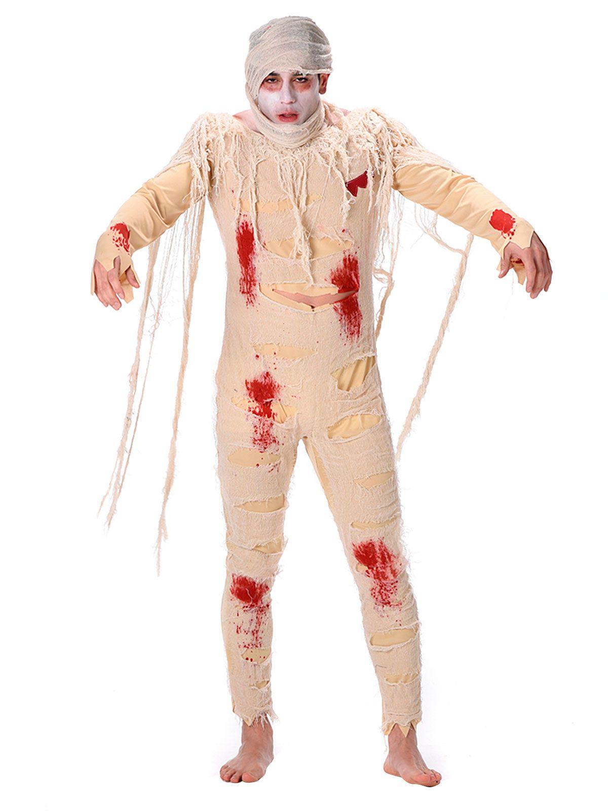 blutige mumie halloweenkostüm beige-rot. aus der kategorie halloween
