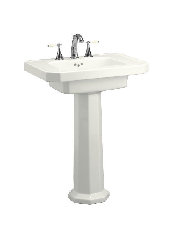Kohler K-2322-1 Kathryn pedestal lavatory with single-hole faucet drilling White Fixture Pedestal Sink Fireclay