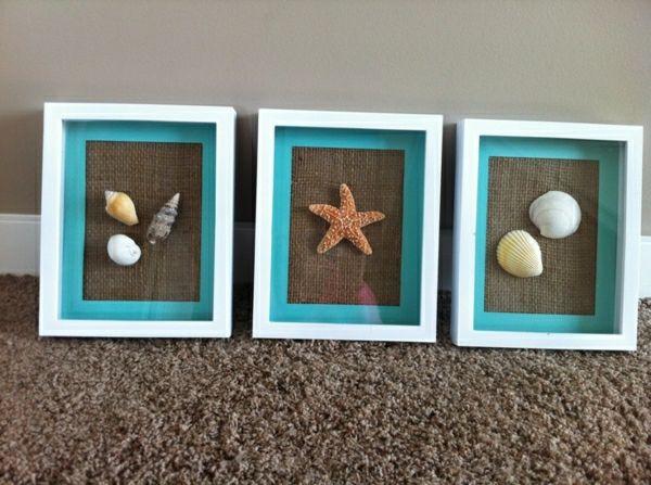 selber machen Bilder Seesterne Muschel blau weiß braun Muscheln - badezimmer deko selber machen