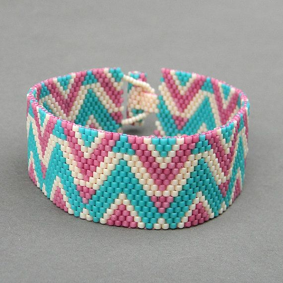 Pastel colors peyote cuff bracelet  beaded jewelry by Anabel27shop,
