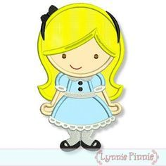 Embroidery Designs - Cutie Princess as Alice in Wonderland Applique 4x4 5x7 6x10 - Welcome to Lynnie Pinnie.com! Instant download and free applique machine embroidery designs in PES, HUS, JEF, DST, EXP, VIP, XXX AND ART formats.