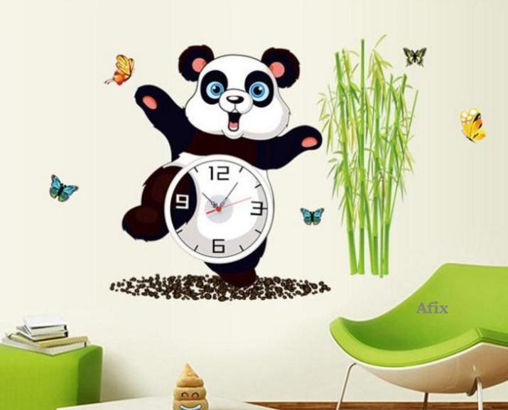 Kinderzimmer Wandtattoo Panda mit Uhr Wanduhr kaufen bei