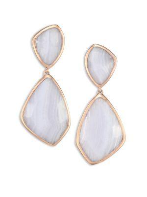 Rose Gold Siren Cocktail Earrings Blue Lace Agate Monica Vinader 5kpJ3x9b