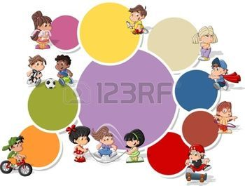 sport magazine: Colorful template for advertising brochure with cute happy cartoon kids playing