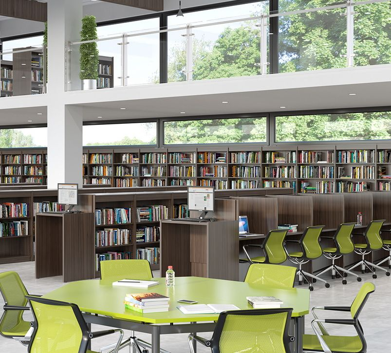Beautiful Fleetwood Furniture Library Shelving, Study Carrels, And Student Tables