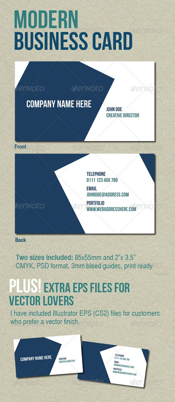 Modern business card pinterest business cards business and modern modern business card graphicriver two different size versions included us and europe dimensions reheart Images