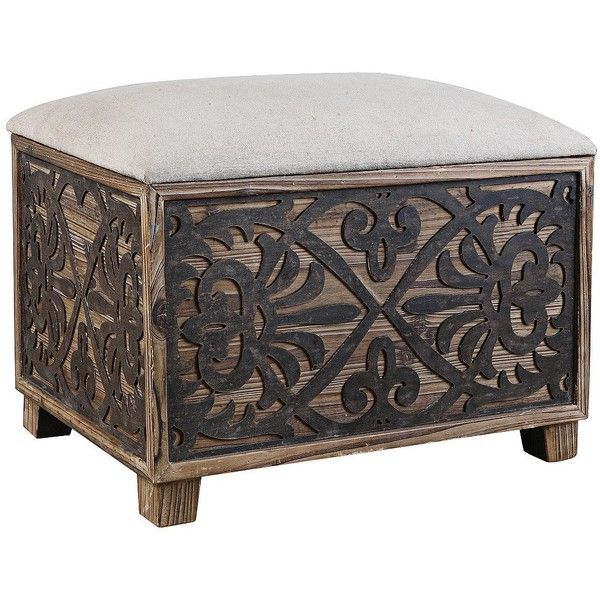 Uttermost Abelardo Small Rustic Bench ($323) ❤ liked on Polyvore featuring home, furniture, benches, brown, seating, uttermost furniture, padded bench, brown bench, rustic furniture and rustic bench