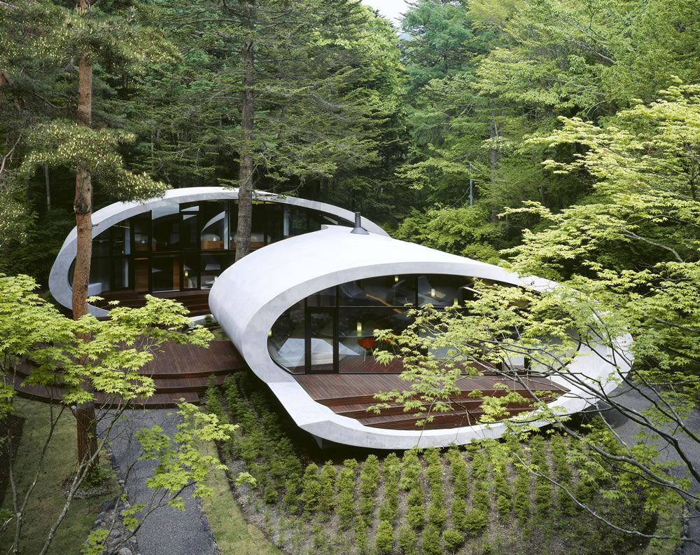 The famous shell house by Kataro Ide.  in Karuizawa, Nagano