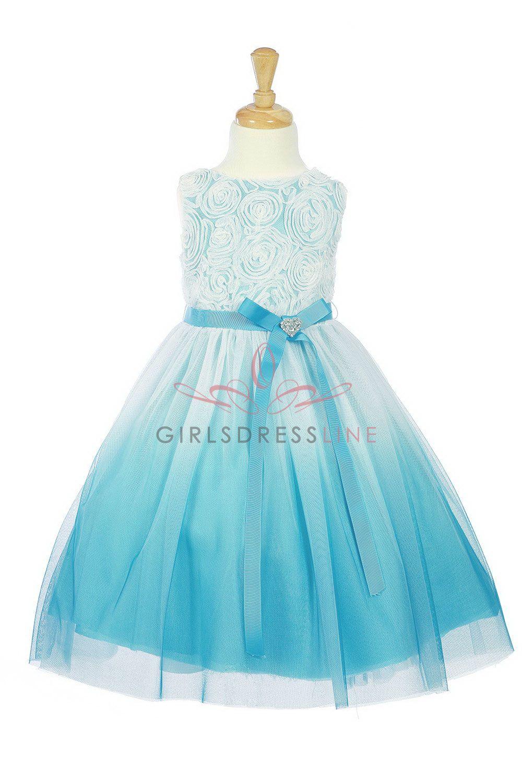 f2ecf03acc2 Aqua Rosett Detail Ombre printed tull Flower Girl Dress K322-AQ  54.95 on  www.GirlsDressLine.Com