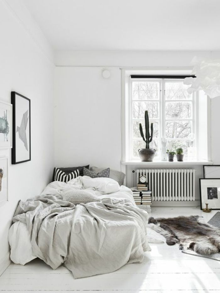 wohnideen schlafzimmer weiße wände fellteppich kakteen | toni and ... - Wohnideen Schlafzimmer Grau