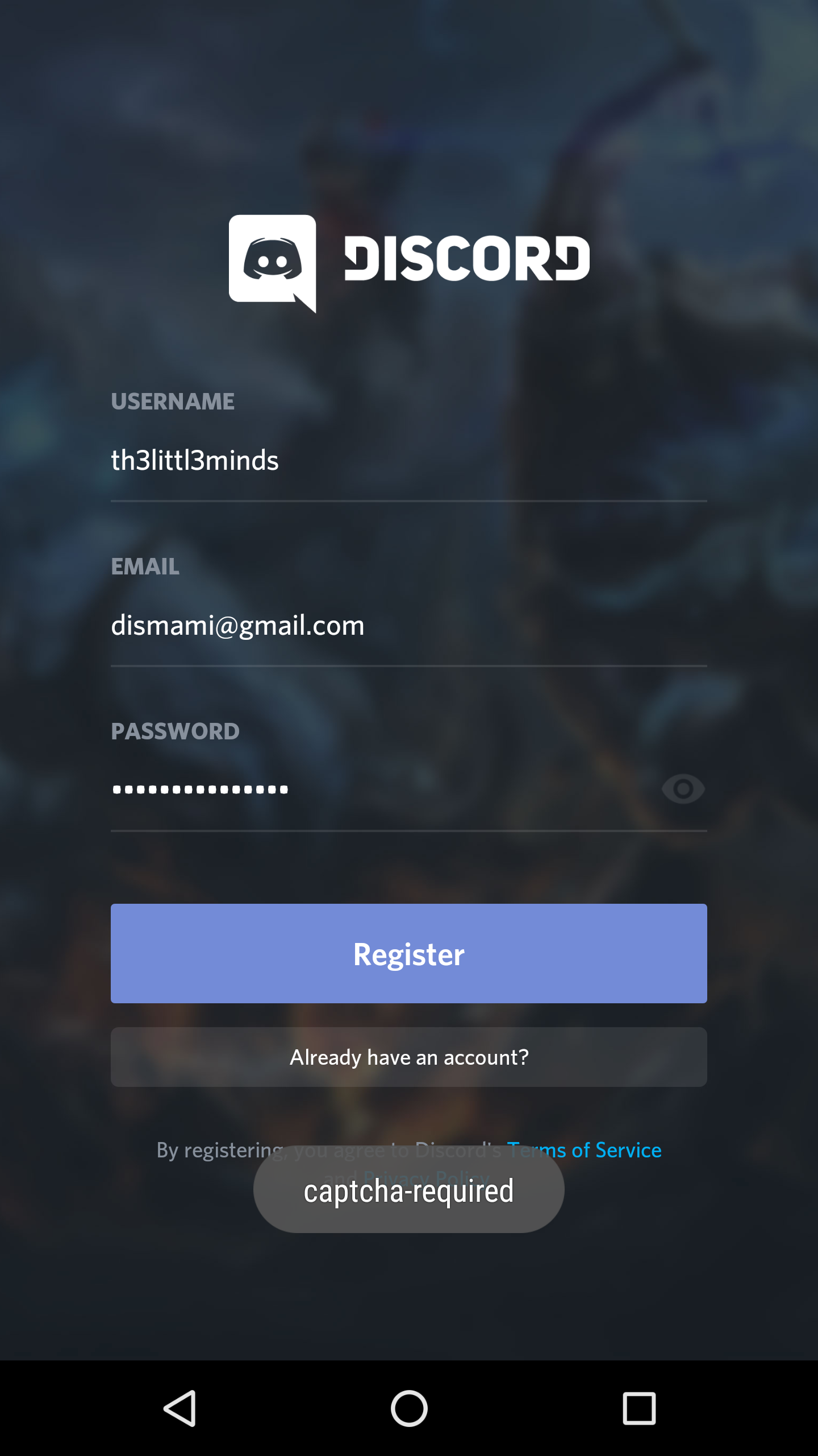 required captcha is not visible in discord app